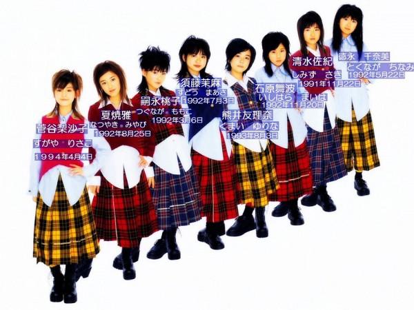 """Las 8 integrantes originales de Berryz, con una edad promedio de 12 años y que fueron elegidas del """"Hello! Propject Kids"""" en el año 2004"""