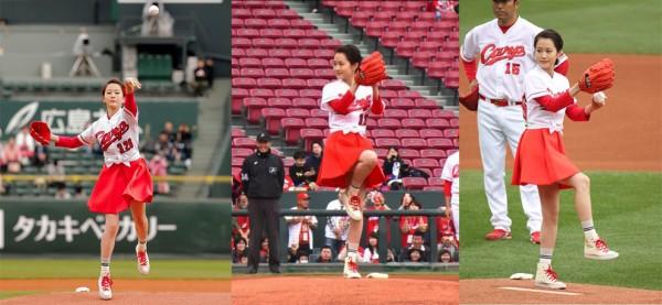 """La ex-AKB48, Atsuko Maeda (24) lanzó la bola ceremonial en un partido de beisbol, para promocionar su nueva película """"Mohikan furusato ni kaeru"""", la cual se estrenará el 9 de abril."""