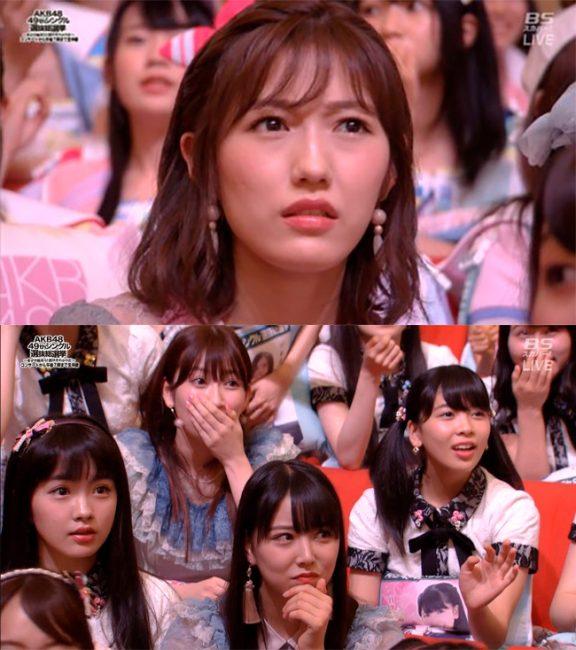 Mayu Watanabe y otras integrantes al escuchar la declaración de Ririka