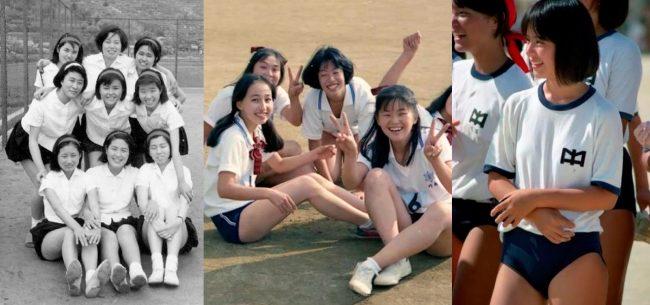 """Uniforme deportivo """"Buruma"""" (bloomers) Años 40s (izquierda), actual (centro/derecha). Al año 2017 la tendencia es que la """"buruma"""" cada vez se usa menos y está a punto de desaparecer."""